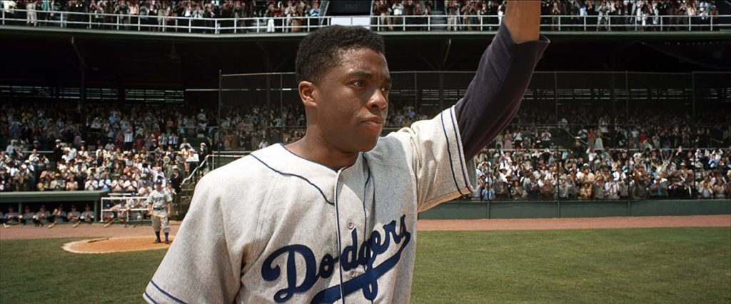 Chadwick Boseman as Jackie Robinson in 42. (Photo credit: Warner Bros. Pictures/Legendary Pictures Productions LLC)