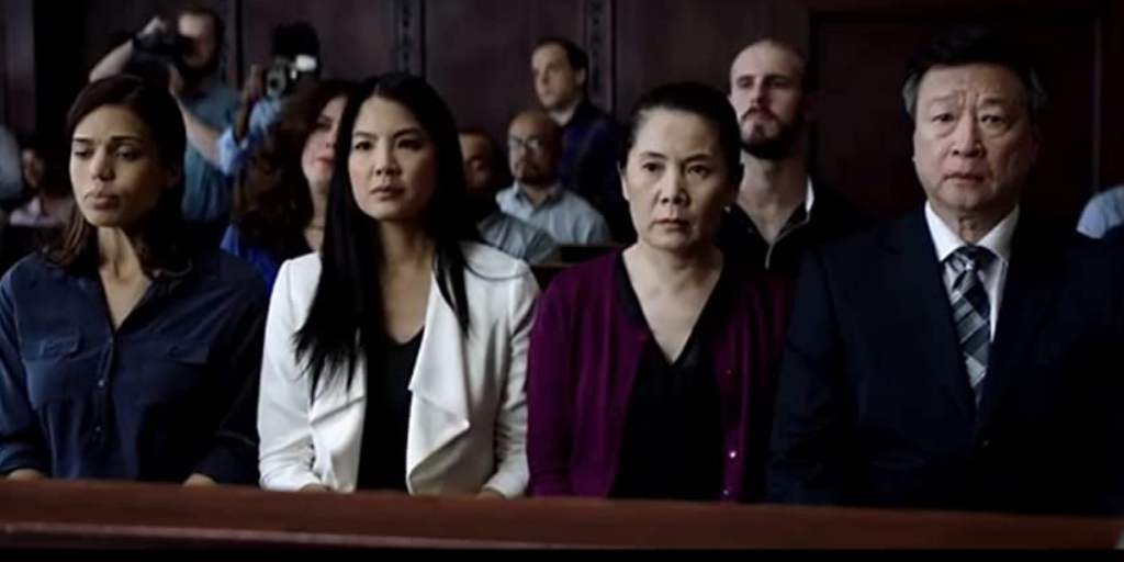 Ciara Renée, Lynn Chen, Fiona Fu and Tzi Ma play Mike's family, who are waiting to see what happens to Mike during his manslaughter trial. Renée plays Mike's fiancee Candace, Chen plays Mike's sister Grace, and Fu and Ma play May and Chow, Mike's parents. (Photo credit: Aimee Long)