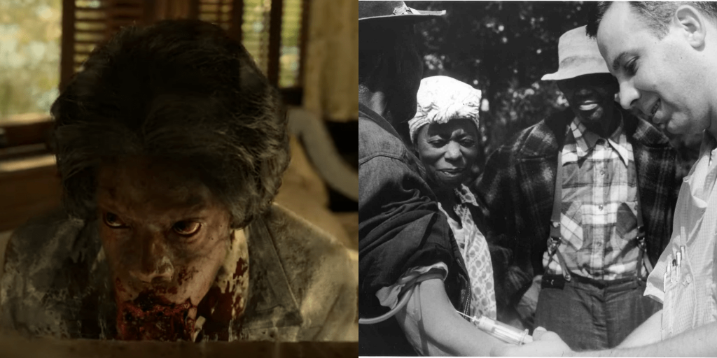 (L-R) The ghost of a Black woman who has been experimented on versus the real experiments done on rural Black Americans in the Tuskegee Experiments. (Photo credit: HBO, National Archives Atlanta, GA (U.S. government))