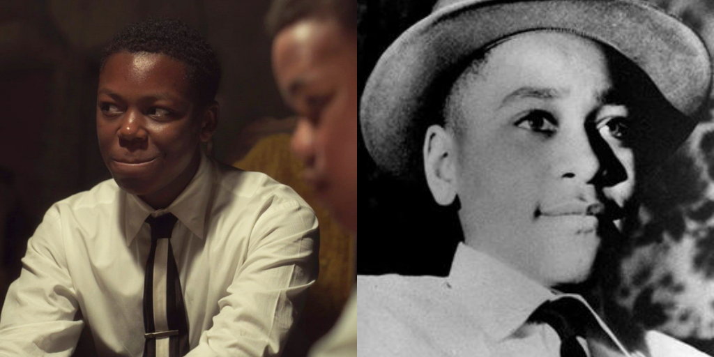 Emmett Till in Lovecraft Country versus the real Emmett Till in a photo taken by his mother, Mamie Till Bradley on Christmas Day, 1954. (Photo credit: HBO, Mamie Till Bradley/Fair Use)