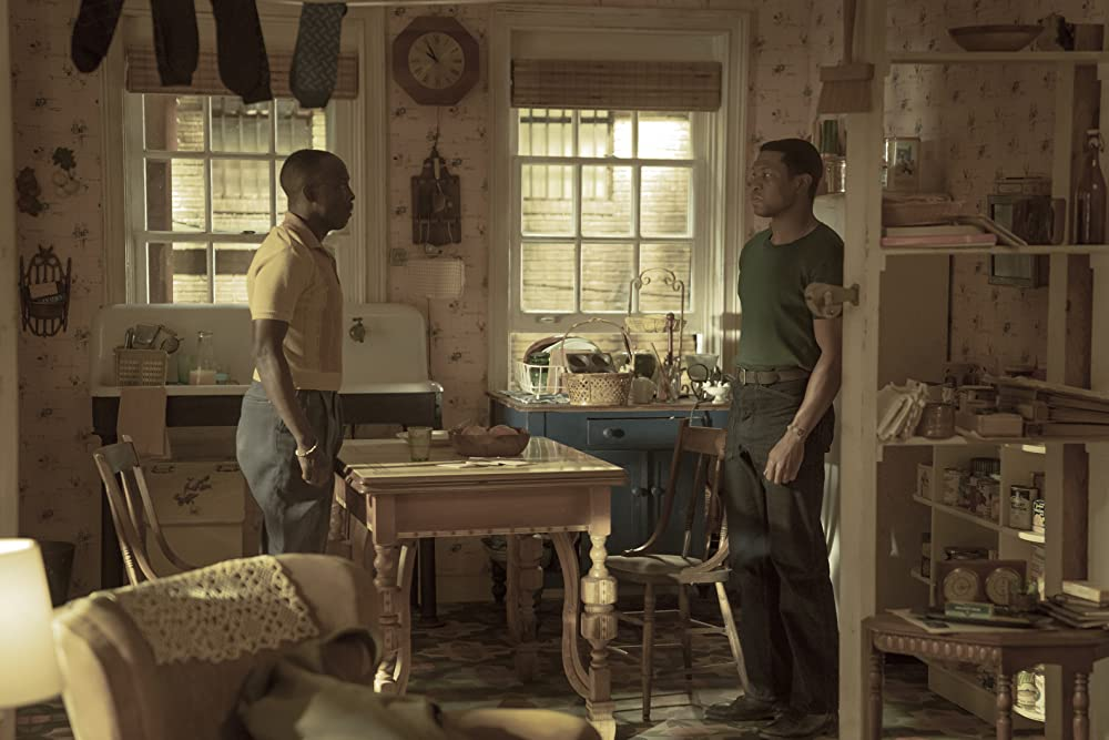 Montrose and Atticus at a standoff in Montrose's kitchen. (Photo credit: HBO)