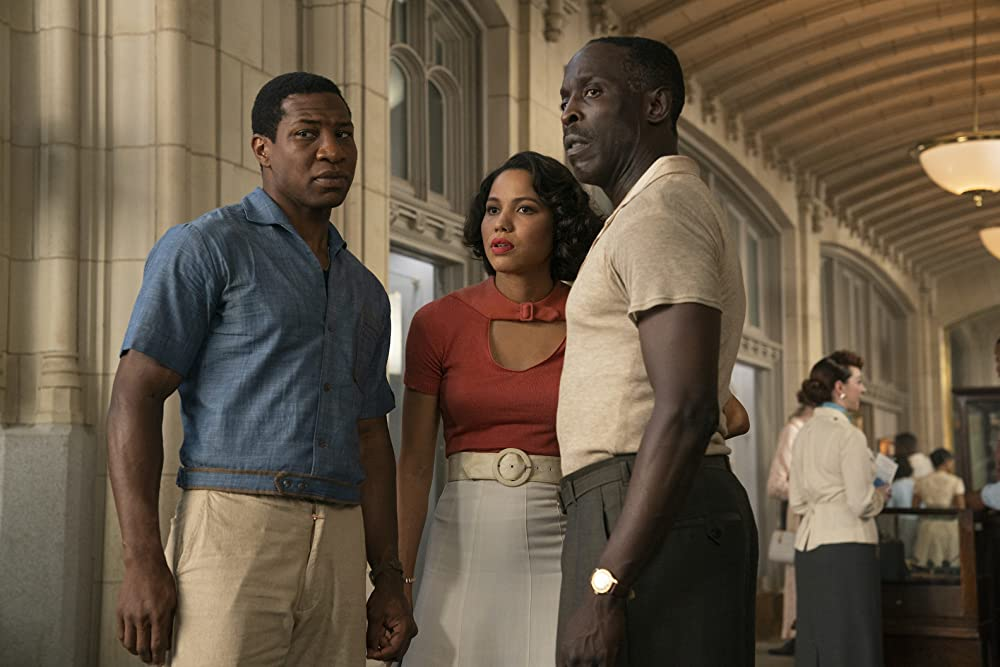 Jonathan Majors as Atticus, Jurnee Smollett as Leti, and Michael Kenneth Williams as Montrose in Lovecraft Country (Photo credit: HBO)