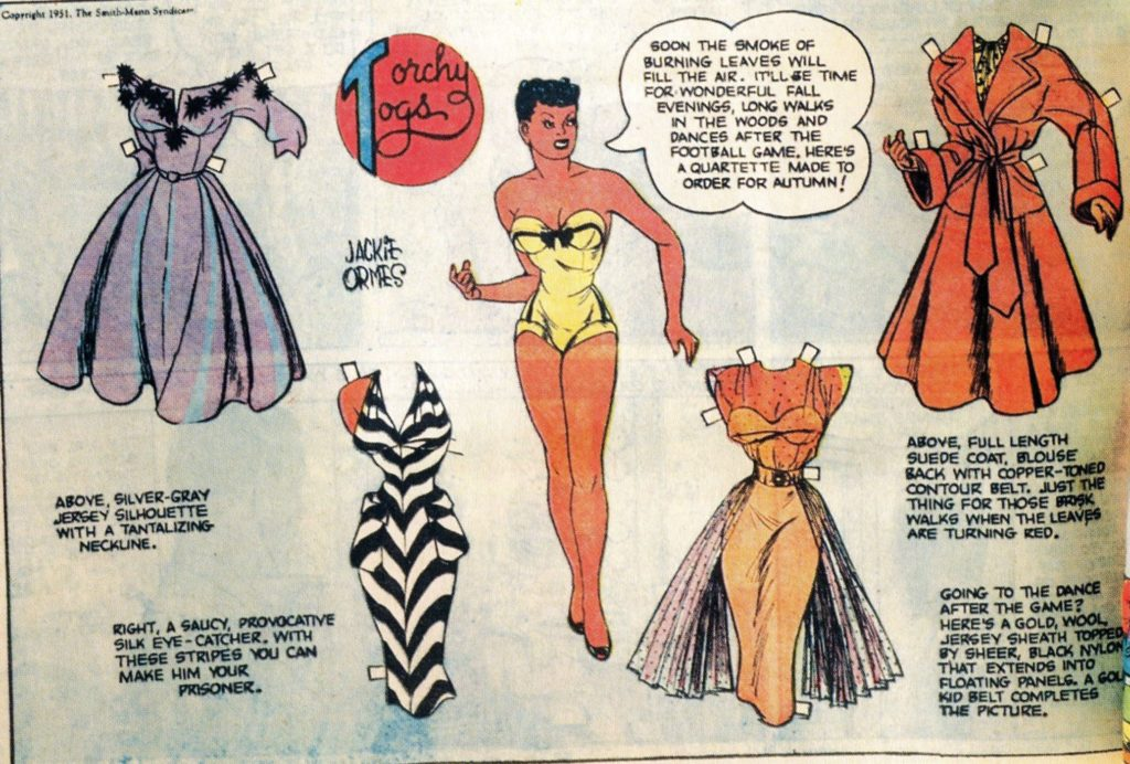 One of the many Torchy Brown paper doll pages Ormes drew.