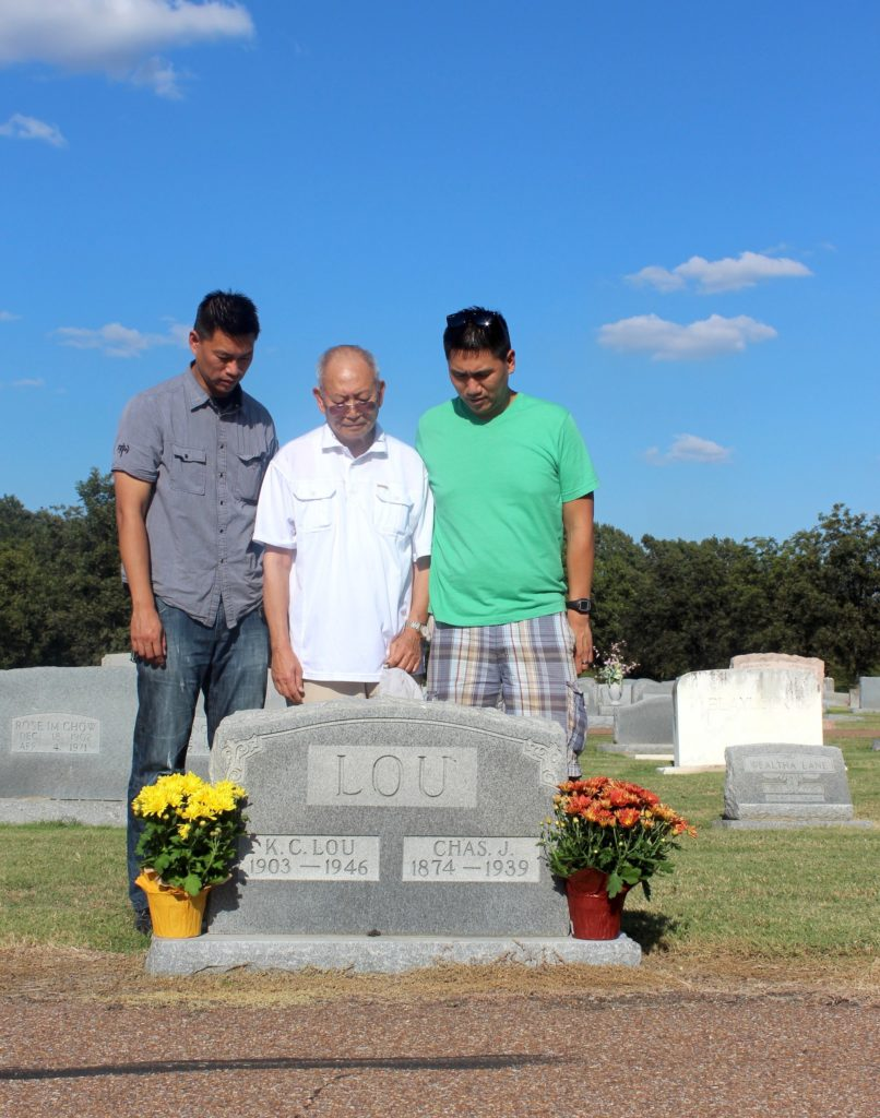 (L-R) Baldwin Chiu, Charles Chiu and Edwin Chiu in Far East Deep South pay their respects to Charles' father, KC Lou, and his grandfather, Chas J. Lou at the New Cleveland Cemetery in Cleveland, MS.