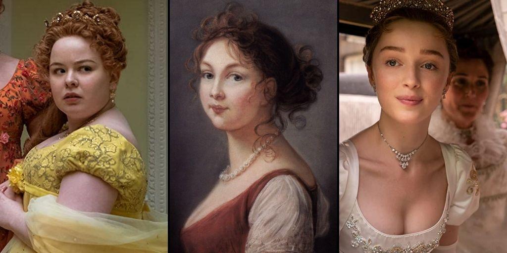 Penelope Featherington's (Nicola Coughlan) looks compared to Queen Louise and Daphne Bridgerton (Phoebe Dynevor). (Painting by Elisabeth Vigée-Lebrun. Photo credit: Liam Daniel/Netflix)