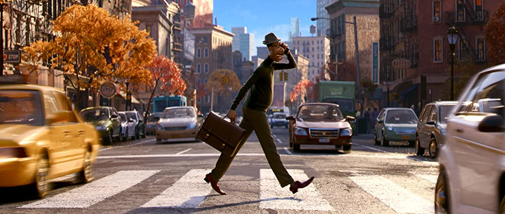 Joe Gardner walking across the street in New York. Photo credit: Disney/Pixar