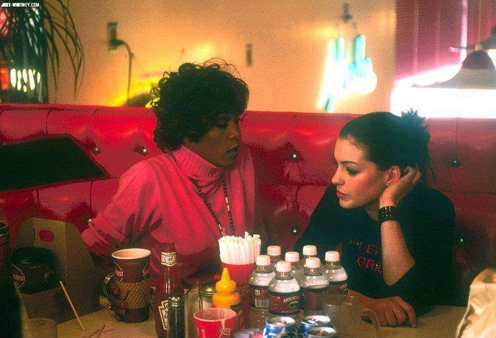 Whitney Houston and Anne Hathaway on the set of The Princess Diaries. (Photo credit: Disney)