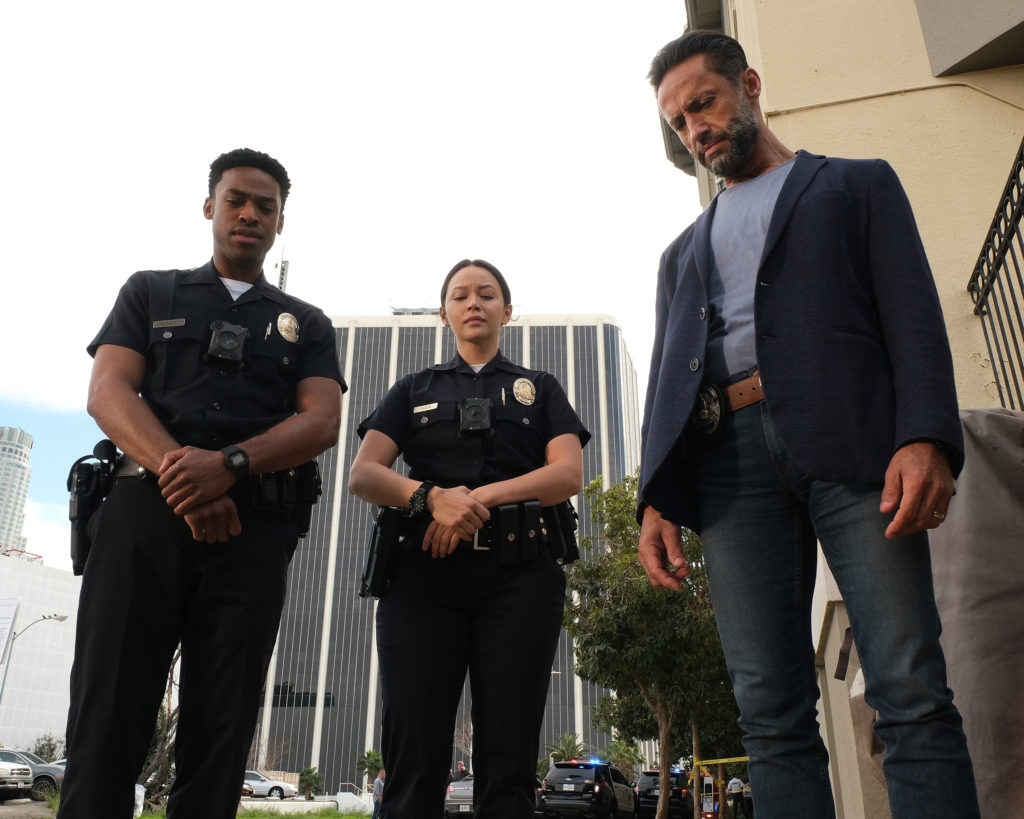 Titus Makin, Melissa O'Neil and Kamar de los Reyes in The Rookie (ABC/Scott Everett White)