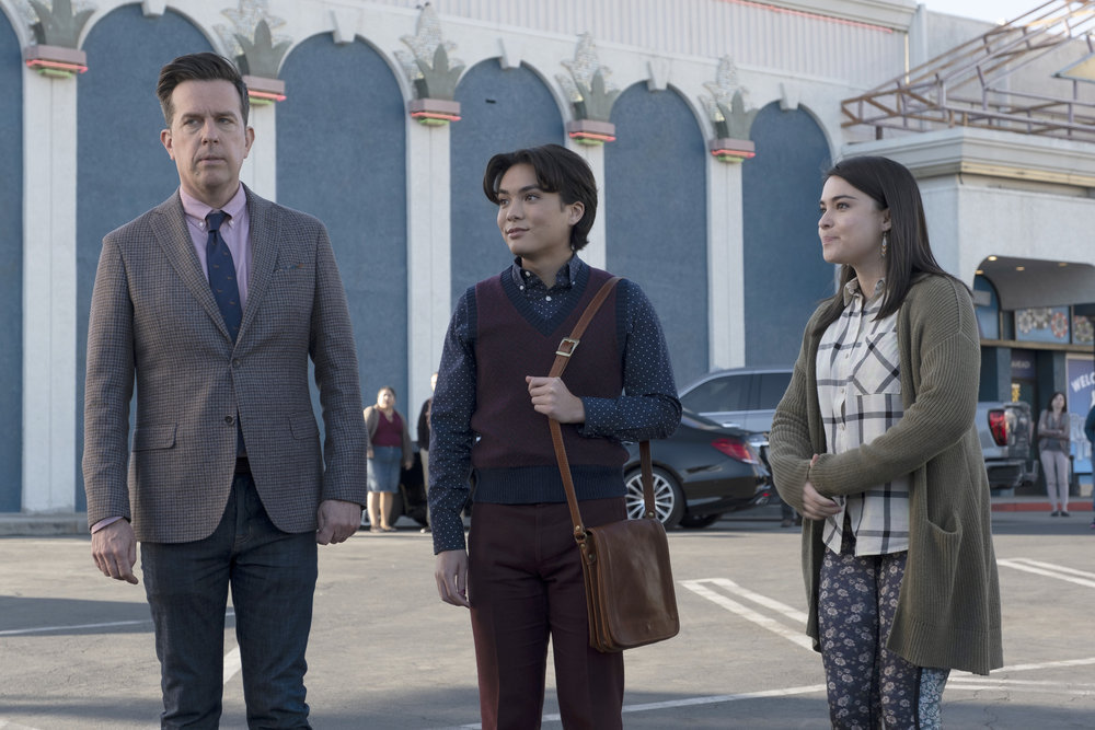 (l-r) Ed Helms, Jesse Leigh and Devery Jacobs in Rutherford Falls