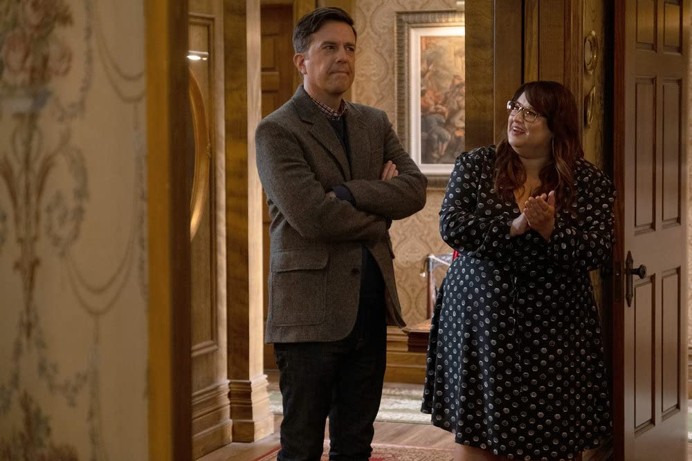 Ed Helms and Jana Schmieding in Rutherford Falls