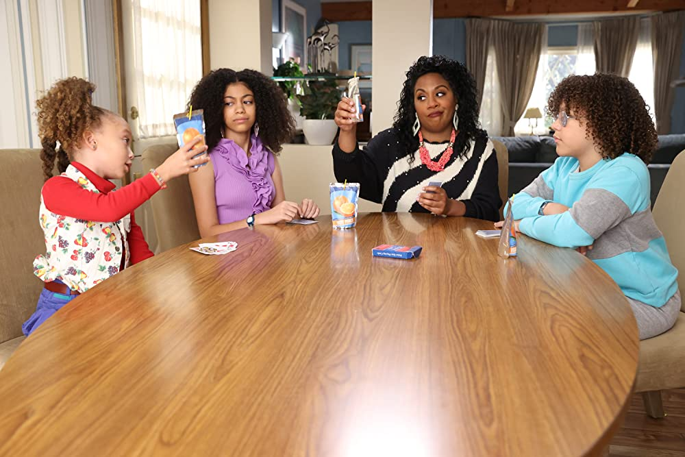 Christina Anthony with (L-R) Mykal-Michelle Harris, Arica Himmel, and Ethan William Childress in mixed-ish (ABC)