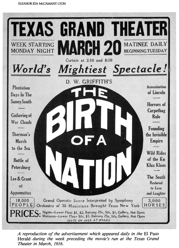 A 1916 newspaper ad for the film's screening in El Paso, Texas (Public Domain)
