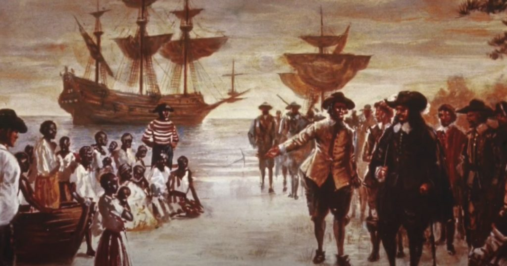 The 1619 Project analyzes the history of Black people in America, starting from the first time Africans are brought to American shores to Virginia. (Jamestown Rediscovery Education)