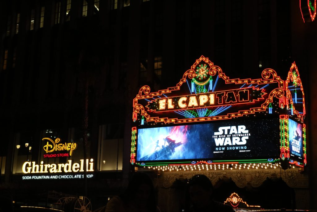 The El Capitan Theater in Hollywood, CA when Star Wars: The Rise of Skywalker was the latest blockbuster of the day. The Star Wars franchise is one of many IPs that has catapulted Disney even higher in the billion-dollar club. (Photo by Matteo Stroppaghetti on Unsplash)